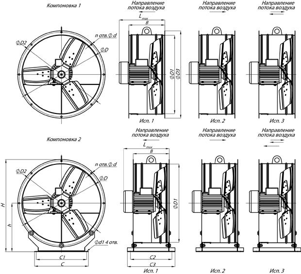 Вентилятор осевой ВО 06-300 №8 — 2,20 кВт